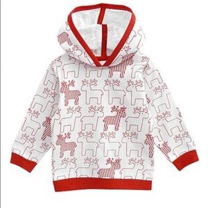 Red&white hooded reindeer shirt 3-6mo holiday